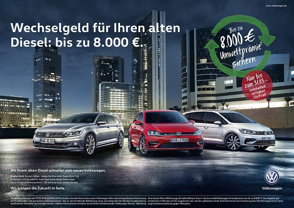 VW Konzern verlängert erfolgreiche Umwelt- und Zukunftsprämien in Europa