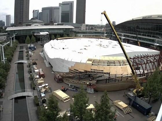 Aufbau Audi Halle für die IAA im Zeitraffer